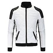 メンズ カジュアル/普段着 秋 冬 レザージャケット,シンプル スタンド カラーブロック レギュラー ポリウレタン 長袖