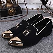 Hombre Zapatos de taco bajo y Slip-Ons Mocasín Otoño Invierno Ante Casual Fiesta y Noche Negro Plano