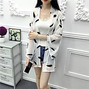 レディース カジュアル/普段着 夏 コート,シンプル ショールラペル 幾何学模様 レギュラー コットン 七分袖