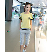 レディース カジュアル/普段着 夏 Tシャツ(21) パンツ スーツ,シンプル ラウンドネック プリント 半袖