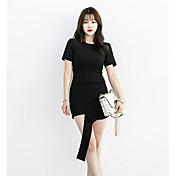 Mujer Vaina Vestido Noche Casual/Diario Un Color Escote Redondo Sobre la rodilla Manga Corta Algodón Verano Tiro Medio Microelástico Fino