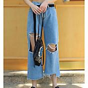 Mujer Sencillo Tiro Alto Microelástico Vaqueros Chinos Pantalones,Corte Recto Un Color