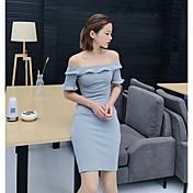 レディース パーティー ボディコン ドレス,ソリッド ボートネック 膝上 半袖 ポリエステル 夏 ミッドライズ 伸縮性あり ミディアム