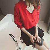 Mujer Simple Casual/Diario Camisa,Escote en Pico Un Color Media Manga Algodón