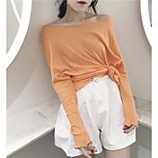 レディース カジュアル/普段着 Tシャツ,シンプル ボートネック ソリッド コットン 長袖
