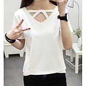 Mujer Simple Casual/Diario Camiseta,Escote en Pico Un Color Manga Corta Algodón Otro