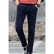 Hombre Sencillo Tiro Medio Microelástico Chinos Pantalones,Delgado Un Color