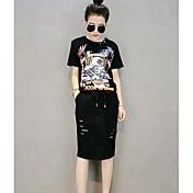 Mujer Simple Casual/Diario Verano T-Shirt Falda Trajes,Escote Redondo Estampado Manga Corta