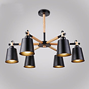6 cabezas de madera vintage art deco lámparas de metal sala de estar creativa comedor sala de estudio / oficina