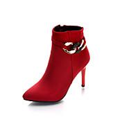 Mujer Zapatos PU microfibra sintético Primavera / Otoño Botas hasta el Tobillo Botas Tacón Stiletto Botines / Hasta el Tobillo Negro /