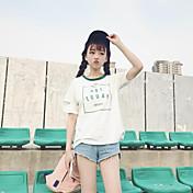 Mujer Vintage Fiesta Camiseta,Escote Redondo Un Color Manga Corta Algodón