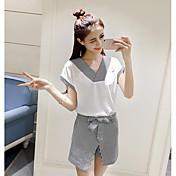 Mujer Simple Casual/Diario Verano T-Shirt Falda Trajes,Escote en Pico A Rayas Manga Corta