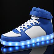 Chico Zapatos PU Primavera Otoño Confort Zapatillas de deporte Con Cordón LED Para Casual Blanco Negro Azul