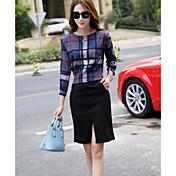 Mujer Simple Casual/Diario Primavera Otoño T-Shirt Falda Trajes,Escote Redondo Cuadrícula Manga Larga