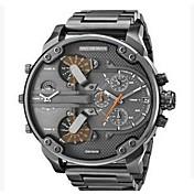 Hombre Reloj de Pulsera Reloj Militar Reloj de Vestir Reloj de Moda Chino Cuarzo Calendario Esfera Grande Punk Dos Husos Horarios Acero