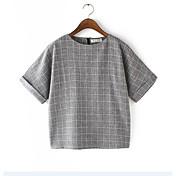 レディース カジュアル/普段着 春 Tシャツ,シンプル ラウンドネック チェック コットン 半袖 ミディアム