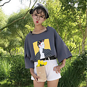 レディース カジュアル/普段着 Tシャツ,キュート ラウンドネック プリント コットン 七分袖