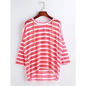 レディース カジュアル/普段着 Tシャツ,シンプル フード付き ソリッド ストライプ コットン 半袖