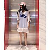 レディース カジュアル/普段着 Tシャツ,シンプル Vネック ソリッド レタード リネン ハーフスリーブ