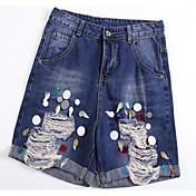 Mujer Sencillo Tiro Alto Microelástico Chinos Pantalones,Corte Recto Estampado