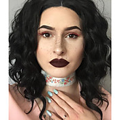 Peluca Lace Front Sintéticas Ondulado Pelo sintético Negro Peluca Mujer Corta Encaje Frontal