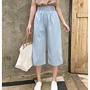 Mujer Chic de Calle Tiro Alto Microelástico Perneras anchas Pantalones,Un Color Verano