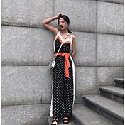 Mujer Simple Discoteca Verano Blusa Pantalón Trajes,Escote en Pico Floral Sin Mangas Microelástico
