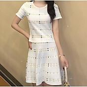 レディース お出かけ 夏 Tシャツ(21) スカート スーツ,シンプル ラウンドネック ソリッド 半袖