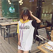 Mujer Simple Casual/Diario Camiseta,Con Capucha Letra Manga Corta Algodón