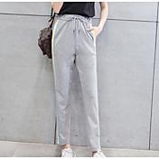 Mujer Sencillo Tiro Alto Microelástico Pantalones de Deporte Pantalones,Delgado A Rayas