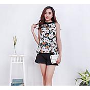 Mujer Simple Casual/Diario Verano Blusa Pantalón Trajes,Escote Redondo Un Color Patrón Sin Mangas