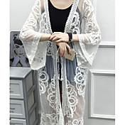 Mujer Noche Algodón Blusa, Escote Chino Un Color