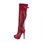 Mujer Botas Botas de Moda Invierno PU Boda Fiesta y Noche Borla Negro Rojo Color Camello Azul y Negro 12 cms y Más