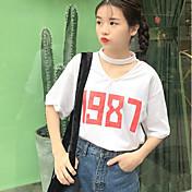 レディース カジュアル/普段着 春 Tシャツ,シンプル Vネック プリント レタード コットン その他 半袖