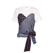 Mujer Casual Diario Camiseta,Escote Redondo Un Color Bloques Manga Corta Algodón Lino