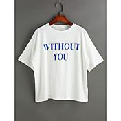 Mujer Casual Diario Camiseta,Escote Redondo Un Color Letra Manga Corta Poliéster