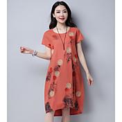 Mujer Camiseta Vestido Casual/Diario Estampado Escote Redondo Sobre la rodilla Manga Corta Algodón Verano Tiro Medio Rígido Medio