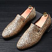 Hombre Zapatos de taco bajo y Slip-Ons Mocasín Verano Otoño Purpurina Boda Casual Fiesta y Noche Purpurina Tacón Plano Dorado Negro Plata