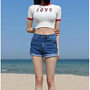 レディース カジュアル/普段着 Tシャツ,セクシー ラウンドネック ソリッド プリント レタード コットン 半袖