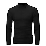 Hombre Simple Casual/Diario Tallas Grandes Otoño Camiseta,Cuello Alto Un Color Manga Larga Algodón Medio