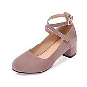 Mujer Zapatos Semicuero Verano Otoño Suelas con luz Confort Tacones Tacón Cuadrado Dedo redondo Hebilla para Casual Vestido Negro Beige