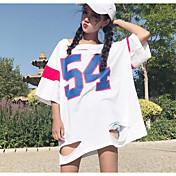 Mujer Chic de Calle Noche Camiseta,Escote Redondo Bloques Media Manga Otro