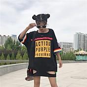Mujer Chic de Calle Casual/Diario Camiseta,Escote Redondo Estampado Manga Corta Algodón