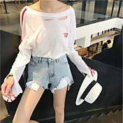 Mujer Simple Bonito Casual/Diario Camiseta,Escote Redondo Bloques Manga Larga Algodón