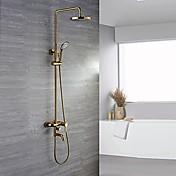 ぜいたく ゴージャス 壁式 レインシャワー ハンドシャワーは含まれている with  セラミックバルブ Ti-PVD , シャワー水栓