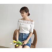 Mujer Regular Pullover Noche Casual/Diario Encaje Escote Barco Manga Corta Acrílico Verano Fino Microelástico