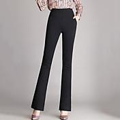 Mujer Sencillo Tiro Alto Eslático Empresa Pantalones,Delgado Ajustado a la Bota Un Color