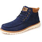 メンズ 靴 PUレザー 秋 冬 コンフォートシューズ ファッションブーツ ブーツ 編み上げ 用途 カジュアル ブラック イエロー ブルー