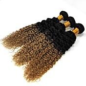 バージンヘア ブラジリアンヘア 人間の髪編む ウォーターウェーブ ヘアエクステンション 3個 ブラック/ストロベリーブロンド