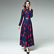 Mujer Línea A Encaje Corte Swing Vestido - Encaje, Bordado Maxi Escote Chino